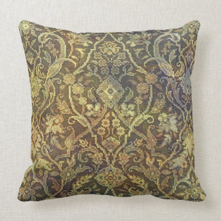 Vintage Tea Stained Floral Throw Pillow