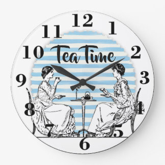 Vintage Tea Time Large Clock