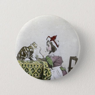 Vintage Tea Time Party With Naughty Kitty 2 Inch Round Button