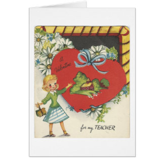 Vintage Teacher With Schoolhouse Valentine Card