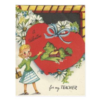 Vintage Teacher With Schoolhouse Valentine Postcard