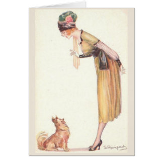 Vintage - Teaching a Dog to Sit, Card