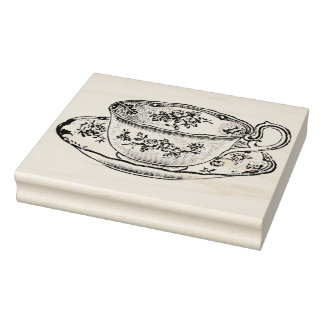 Vintage Teacup and Saucer Rubber Art Stamp