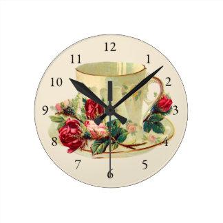 Vintage Teacup for Tea Time Round Clock