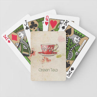 "Vintage Teacup ""Green Tea"" on Handmade Paper Bicycle Playing Cards"