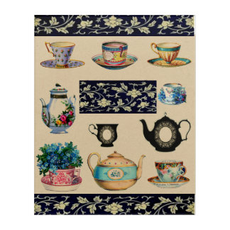 Vintage Teacups Saucers and Teapots Wall Art
