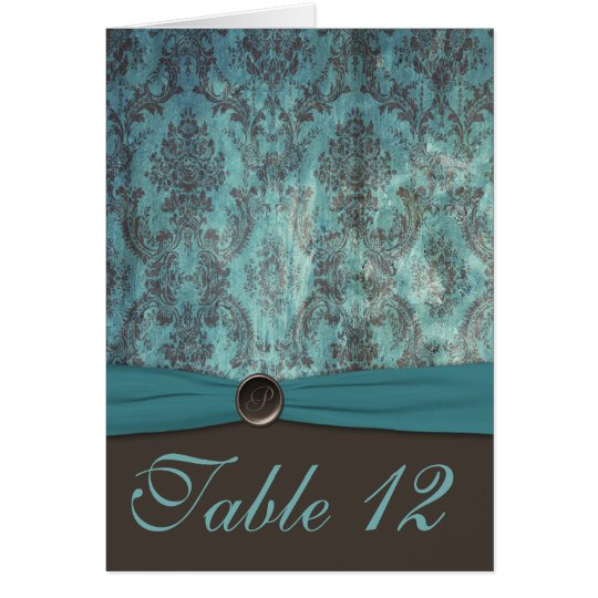 Vintage Teal and Brown Damask Table Number Card
