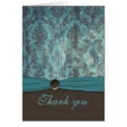 Vintage Teal and Brown Damask Thank You Card