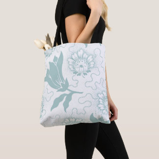 Vintage Teal And White Large Floral Rustic Pattern Tote Bag