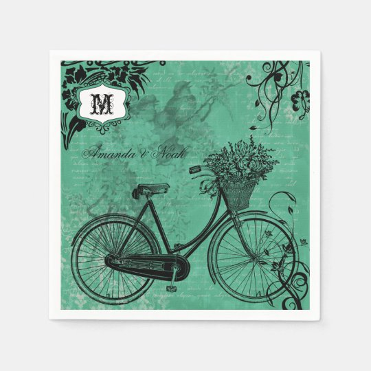 Vintage Teal Bicycle Personalized Paper  Napkins Disposable Napkins