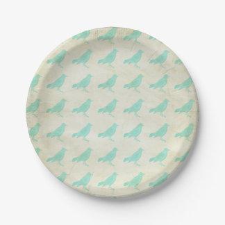 Vintage Teal Birds 7 Inch Paper Plate