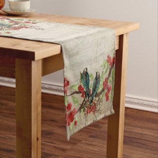 Vintage Teal Birds Musical Notes Pattern Short Table Runner