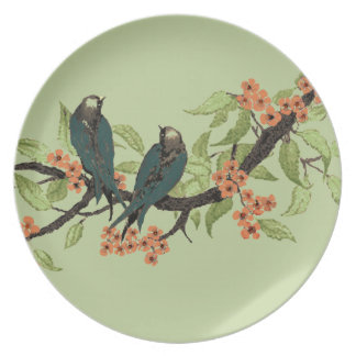 Vintage Teal Birds on Branch Coral Cherry Blossom Plate