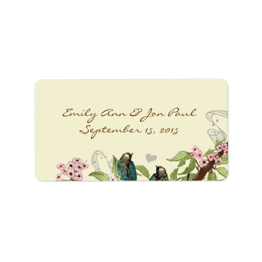Vintage Teal Birds Pink Flowering Branch Label