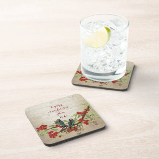 Vintage Teal Birds Red Floral Pattern Quote Coaster