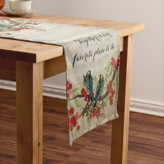 Vintage Teal Birds Red Floral Pattern Short Table Runner