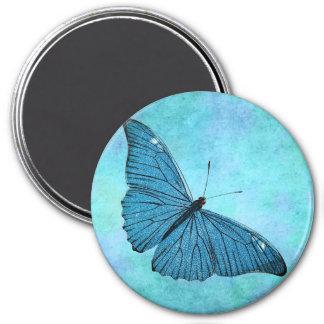 Vintage Teal Blue Butterfly 1800s Illustration 3 Inch Round Magnet