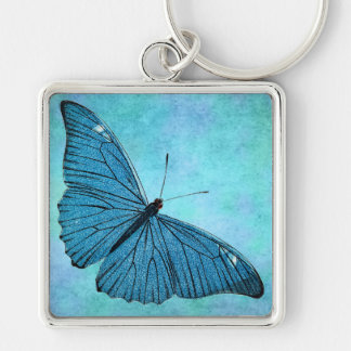 Vintage Teal Blue Butterfly 1800s Illustration Keychain