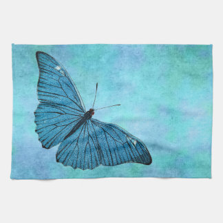 Vintage Teal Blue Butterfly 1800s Illustration Kitchen Towel