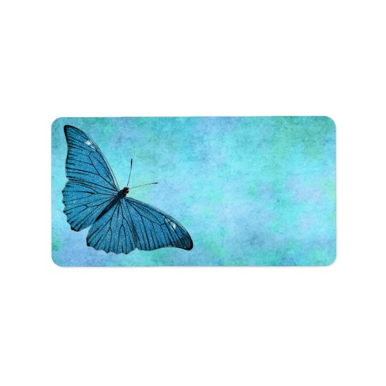 Vintage Teal Blue Butterfly 1800s Illustration Label