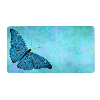 Vintage Teal Blue Butterfly 1800s Illustration Shipping Label