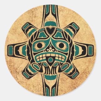 Vintage Teal Blue Haida Sun Mask Classic Round Sticker
