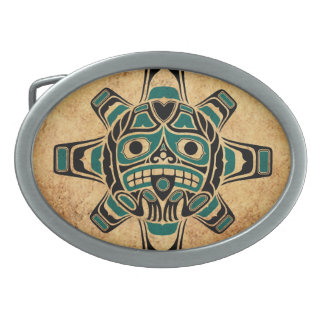 Vintage Teal Blue Haida Sun Mask Oval Belt Buckles