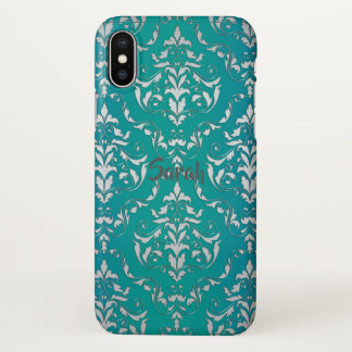 Vintage Teal Damask Personalized iPhone X Case