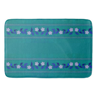 Vintage Teal Embroidery Daisy Floral Trim Bath Mat