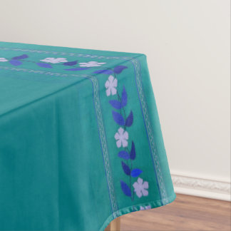Vintage Teal Embroidery Flower Garden Tablecloth