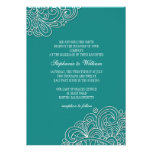 Vintage Teal Floral Swirl Wedding Invitation