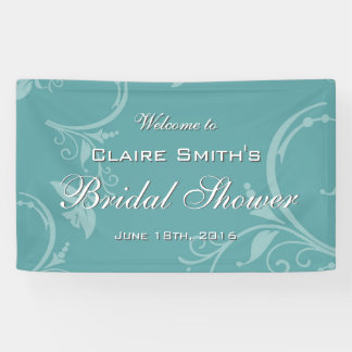 Vintage Teal Floral Welcome Bridal Shower Banner