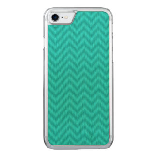 Vintage Teal Gray Ikat Chevron Zigzag Carved iPhone 7 Case