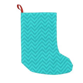 Vintage Teal Gray Ikat Chevron Zigzag Small Christmas Stocking