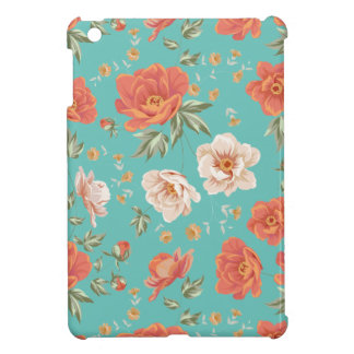 Vintage teal orange spring flower pattern iPad mini cases