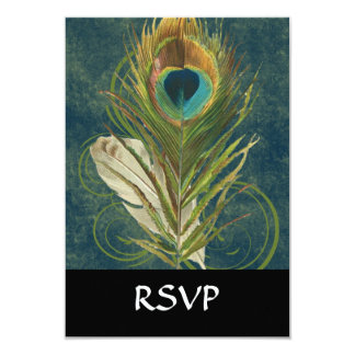 """Vintage Teal Peacock Feather 3.5"""" X 5"""" Invitation Card"""