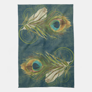Vintage Teal Peacock Feather Kitchen Towel