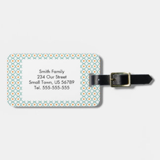 Vintage Teal Quatrefoil and Dots Luggage Tag