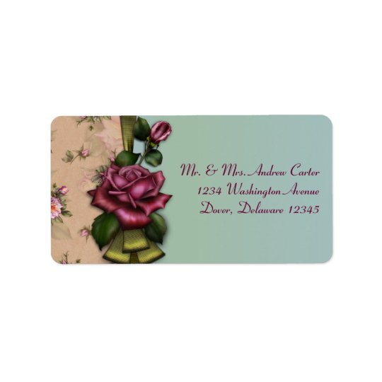 Vintage Teal Red Rose Address Labels