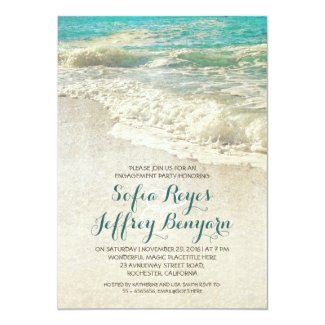 vintage teal sea beach engagement party invitation