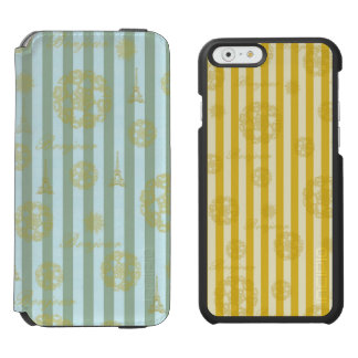 Vintage Teal Stripes Gold French Damask Pattern Incipio Watson™ iPhone 6 Wallet Case