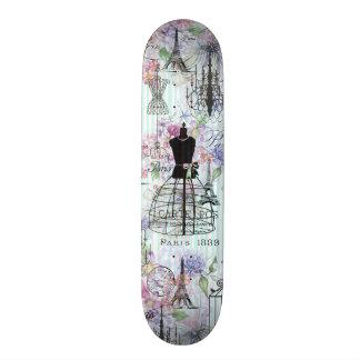 Vintage teal stripes paris collage pink floral skate board decks