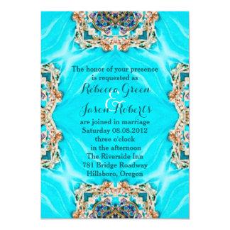 vintage teal turquoise pattern bohemian wedding card