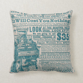 Vintage Teal Typography Cornish Organ Instrument Throw Pillow