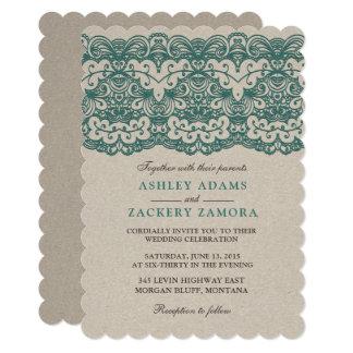 Vintage TealLace ClassyElegance Wedding Invitation