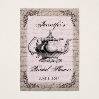 Vintage Teapot Bridal Shower Favor Tag Card