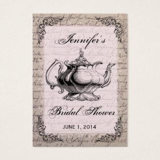 Vintage Teapot Bridal Shower Favor Tag Card