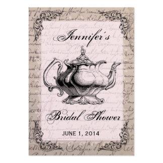 Vintage Teapot Bridal Shower Favor Tag Card Large Business Card