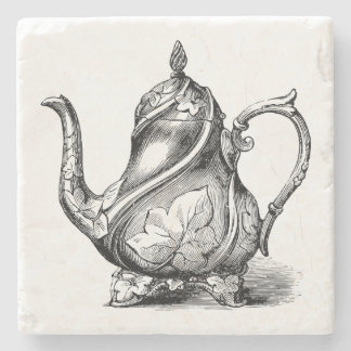 Vintage Teapot Illustration Stone Coaster