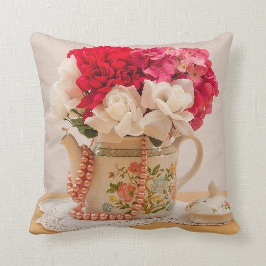 Vintage Teapot Vase of Flowers Throw Pillow